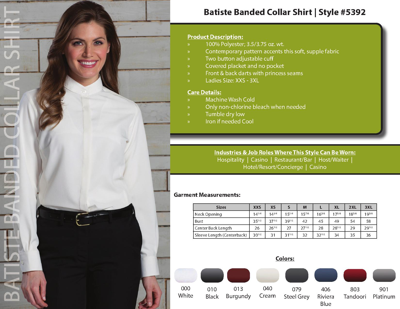 Edwards Garment 5392 Ladies Batiste Banded Collar Shirt 2480