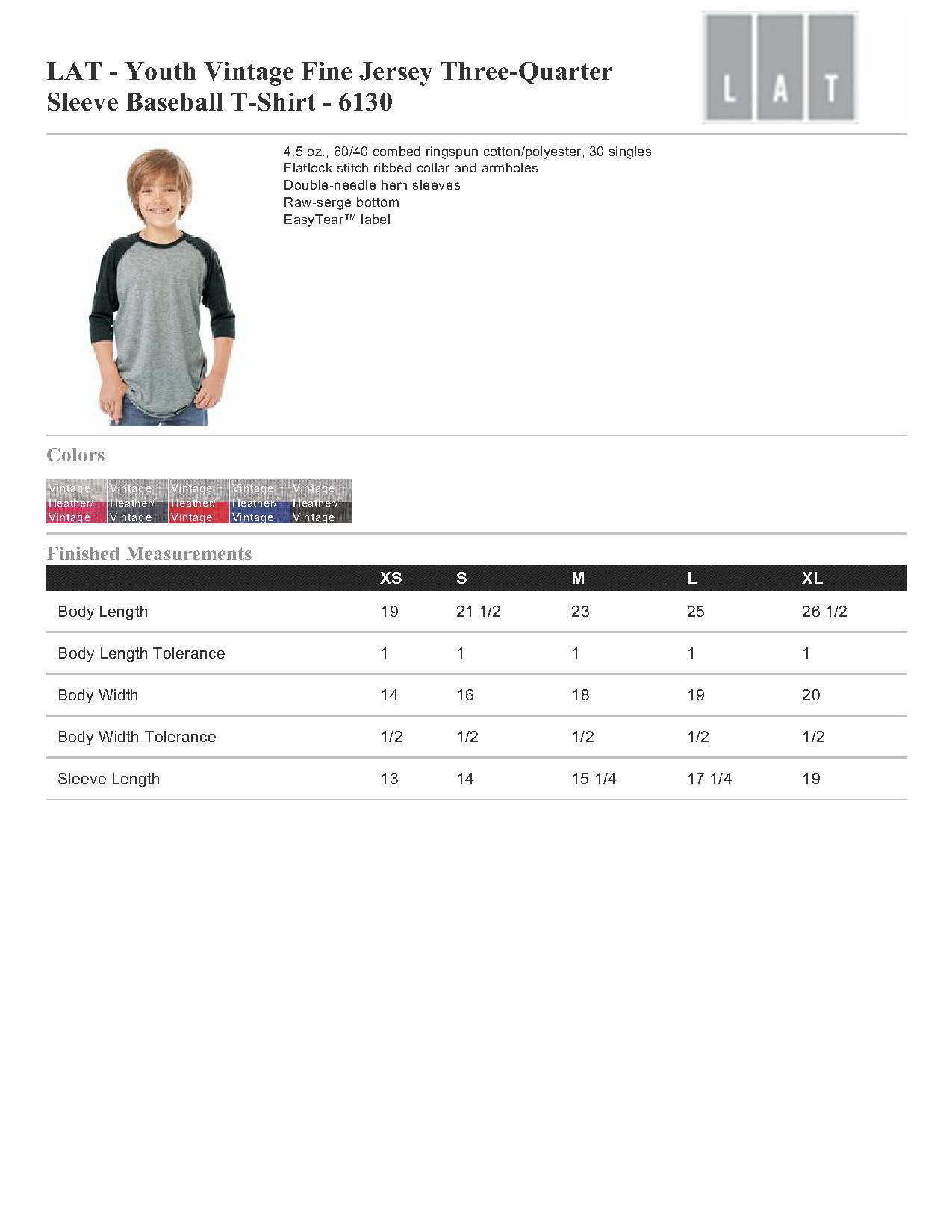 b0c86e783d28 LAT Youth Vintage Fine Jersey Three-Quarter Sleeve Baseball T-Shirt ...