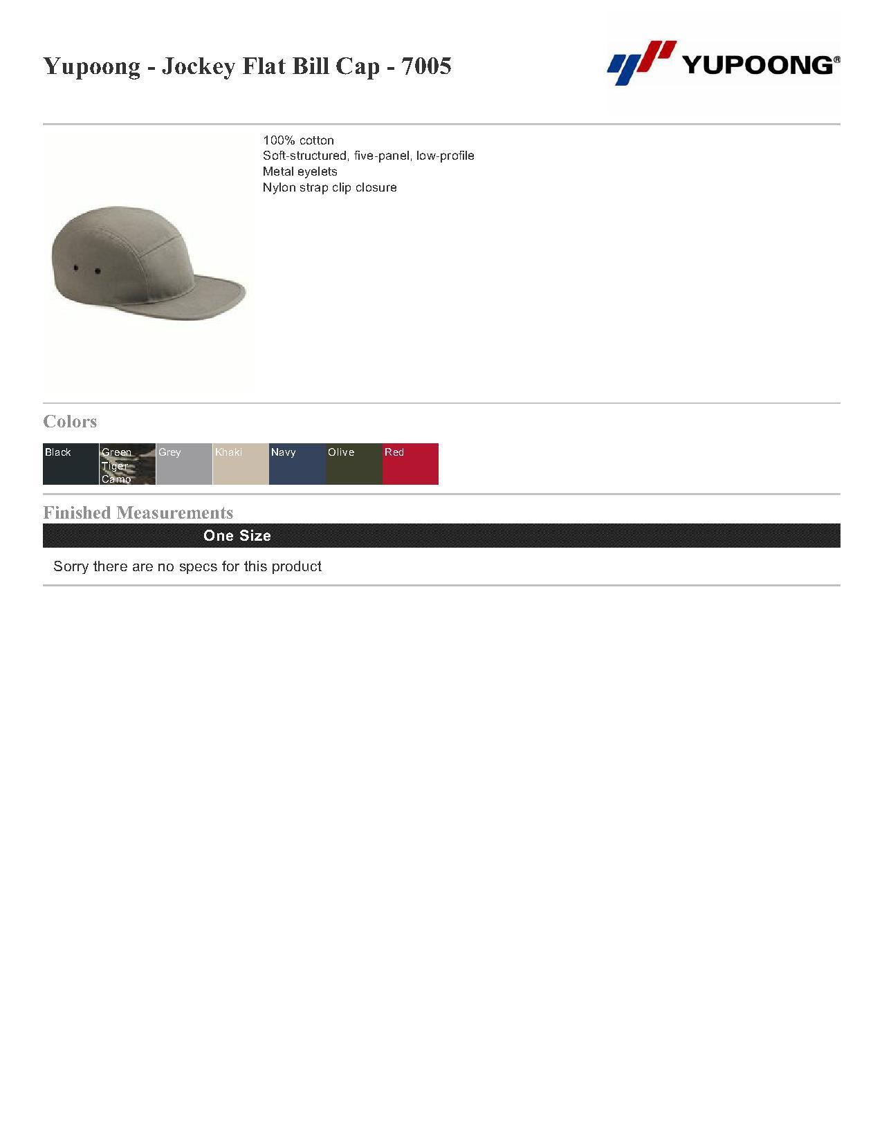 Yupoong Jockey Flat Bill Cap - 7005  4.68 - Headwear a7e710ffd56