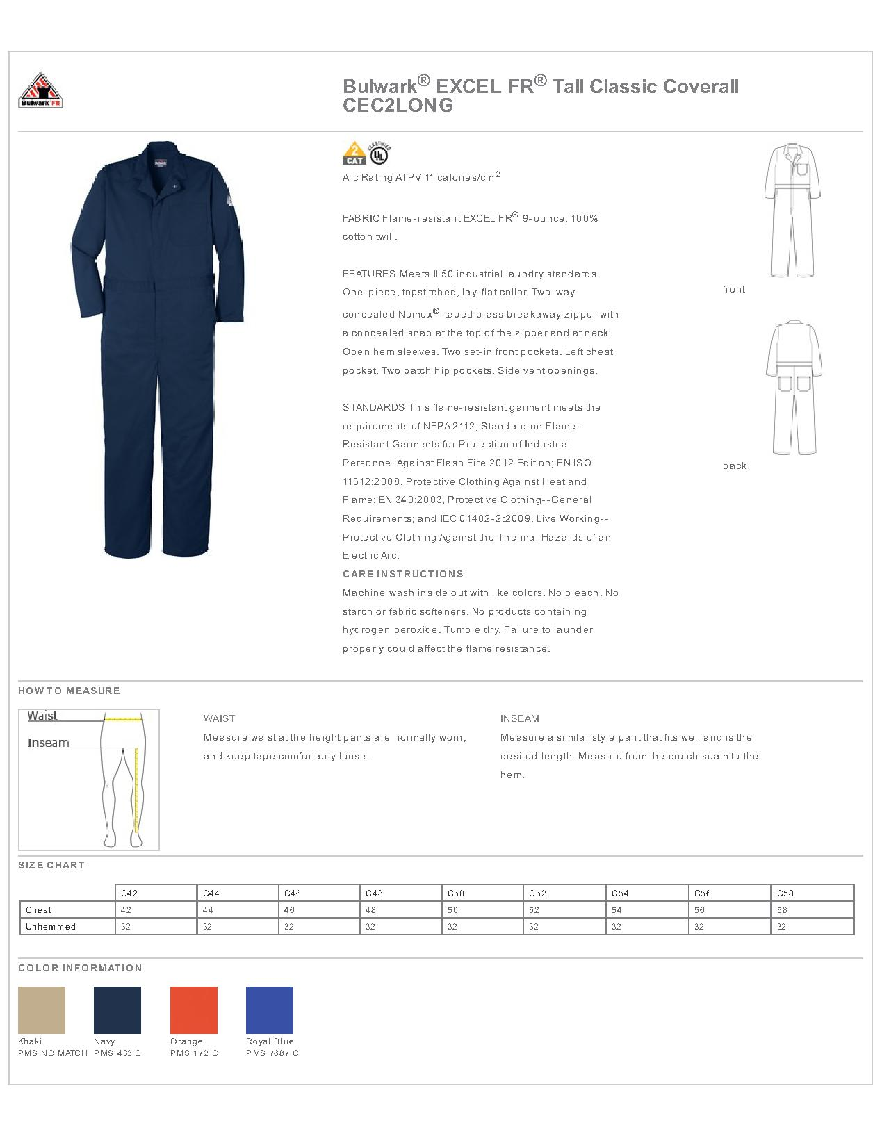 daf4bf35022 Bulwark EXCEL FR CEC2LONG - Tall Classic Coverall - Work Shirts