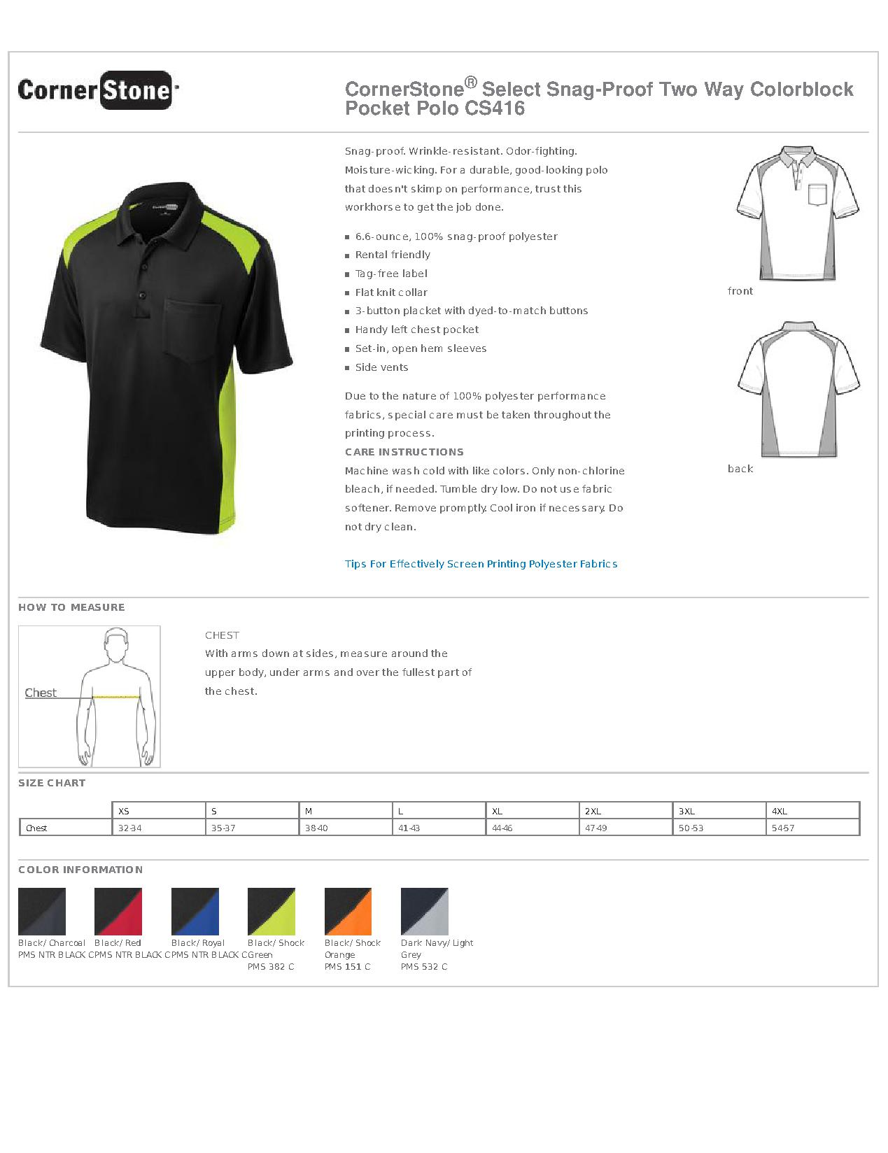 445e04d7 CornerStone Select Snag-Proof Two Way Colorblock Pocket Polo Freizeithemden  & Shirts CS416