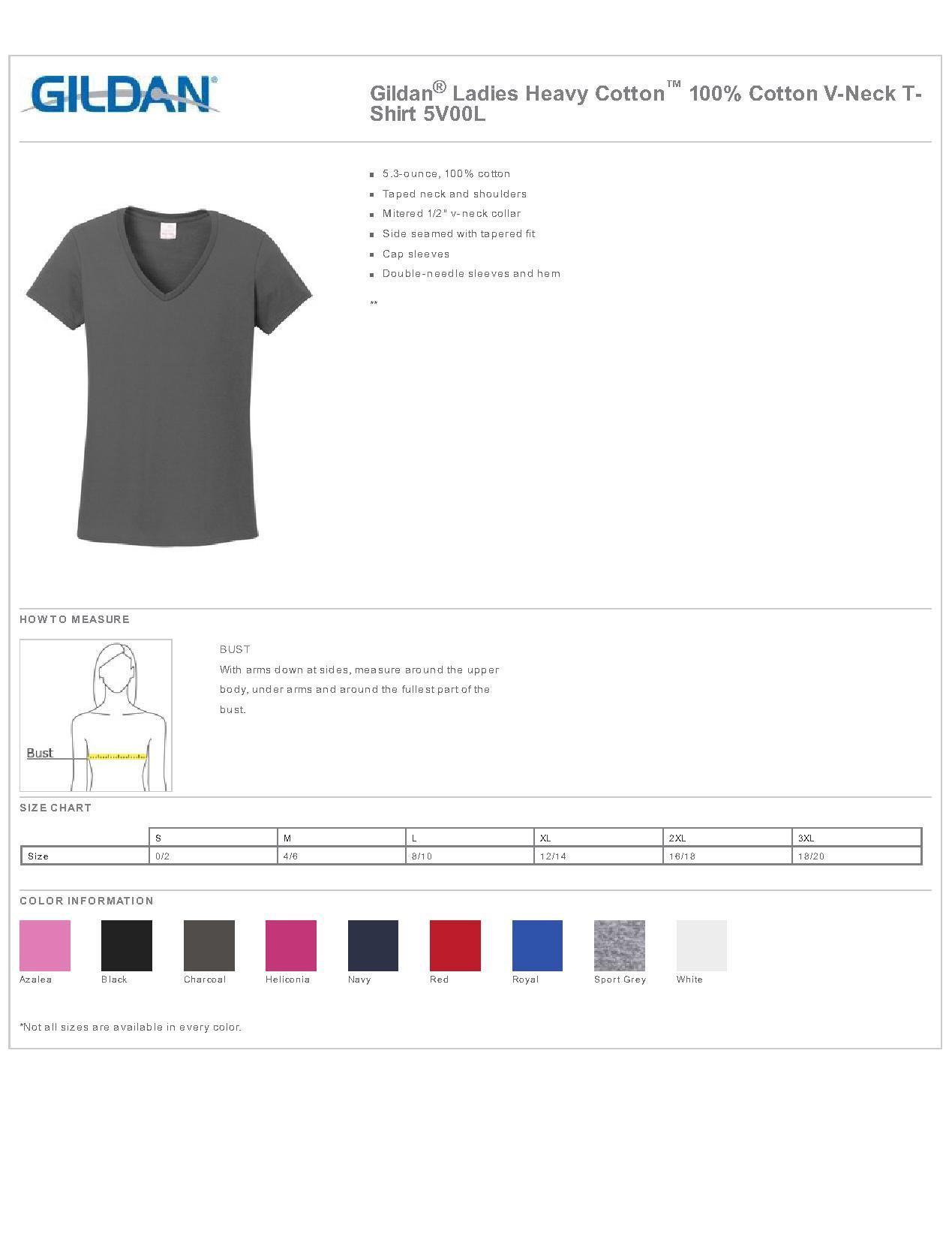 Gildan 5v00l ladies heavy cotton 100 cotton v neck t for Gildan t shirt size chart