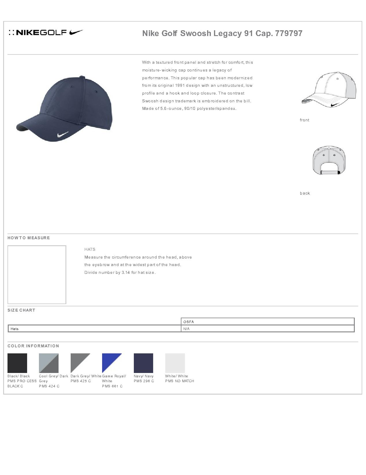 0911afebab2d8 Popular Designs. custom design of Nike Golf 779797 - Swoosh Legacy 91 Cap