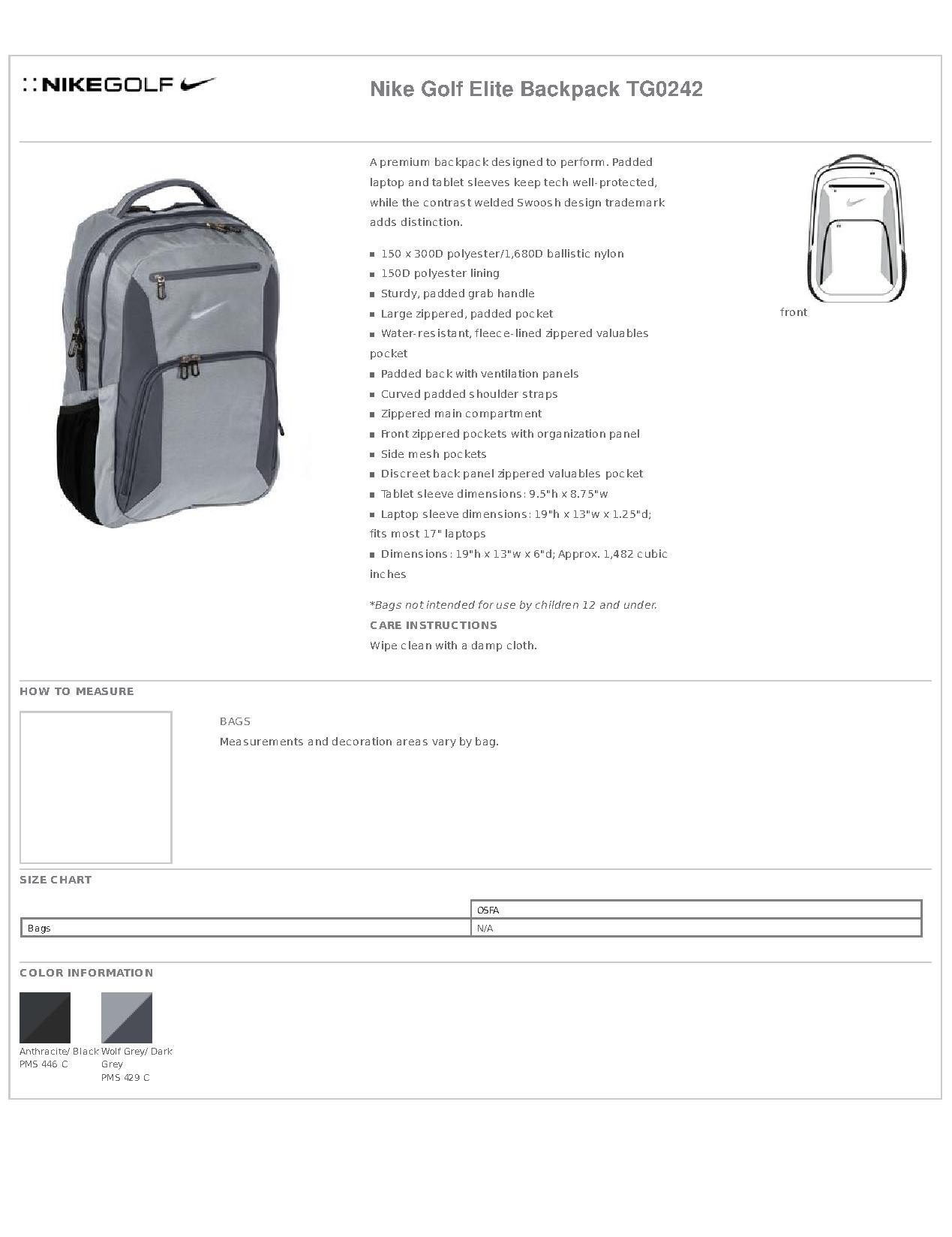 Nike Golf TG0242 Elite Backpack - Bags bbc96d896994b