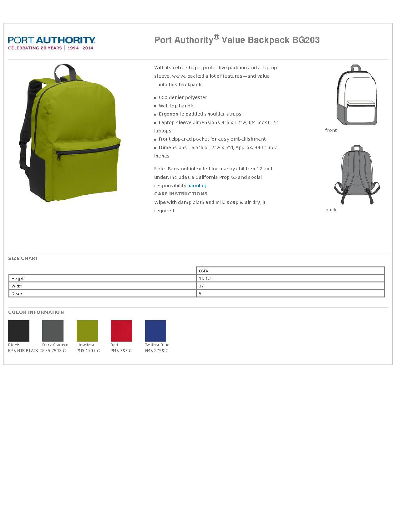 Port Authority BG203 Value Backpack - Bags