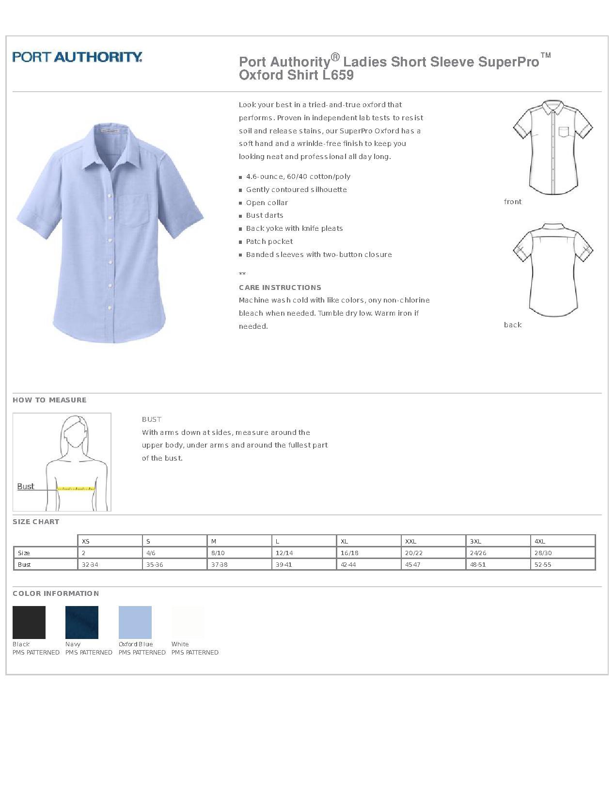 5523023d413d70 Port Authority® L659 - Ladies Short Sleeve SuperPro Oxford Shirt ...