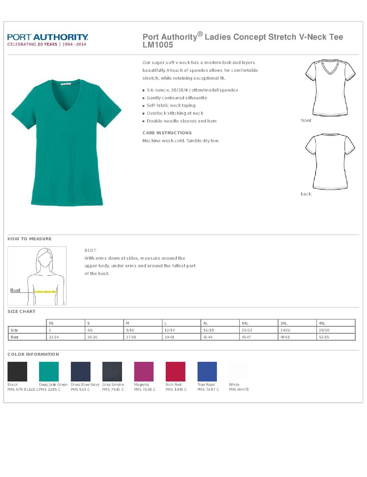 f243261f81c3 Port Authority LM1005 Ladies Concept Stretch V-Neck Tee - Women's T ...