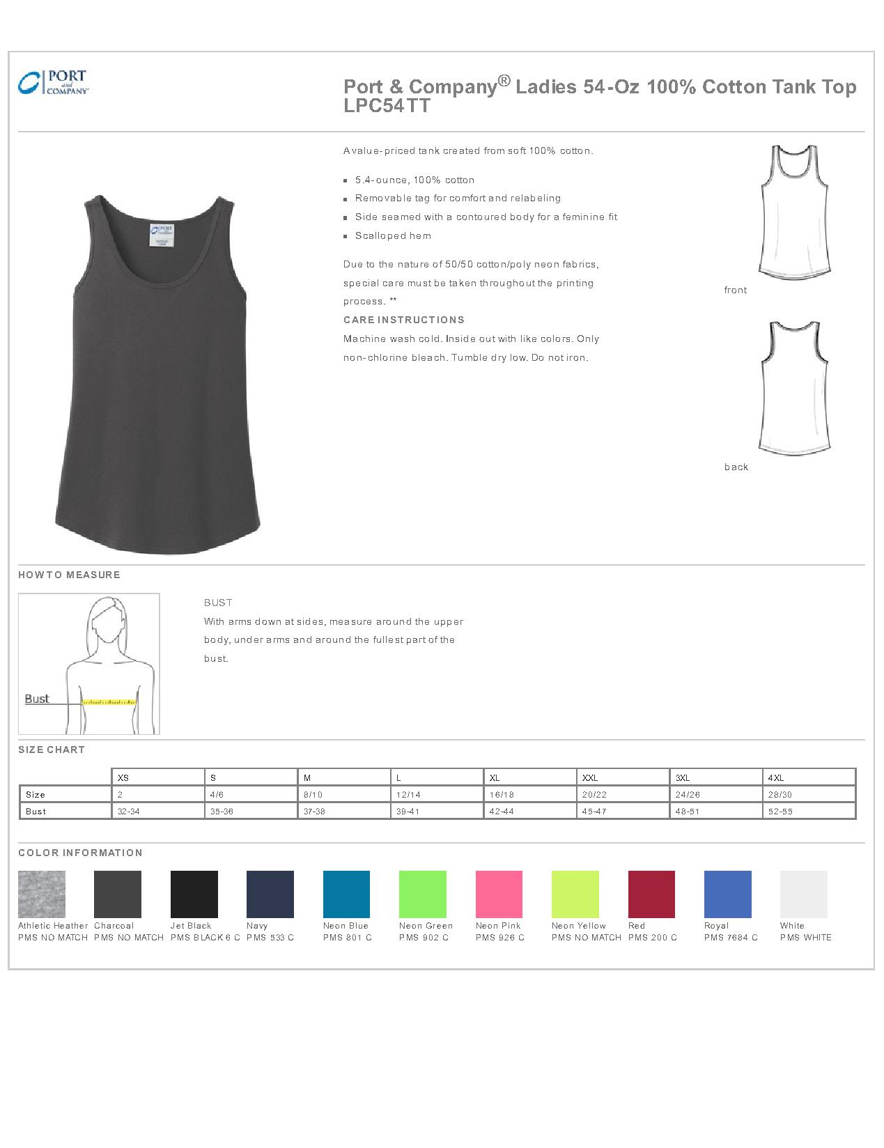 48273082225bb Port   Company LPC54TT - Ladies 5.4-Oz 100% Cotton Tank Top ...