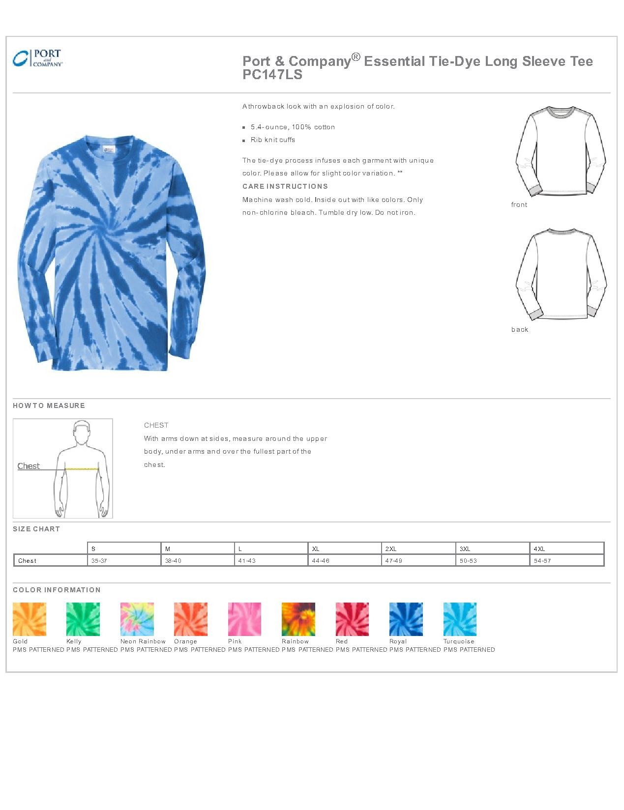 Port company pc147ls essential tie dye long sleeve tee mens specs sizing specs geenschuldenfo Image collections