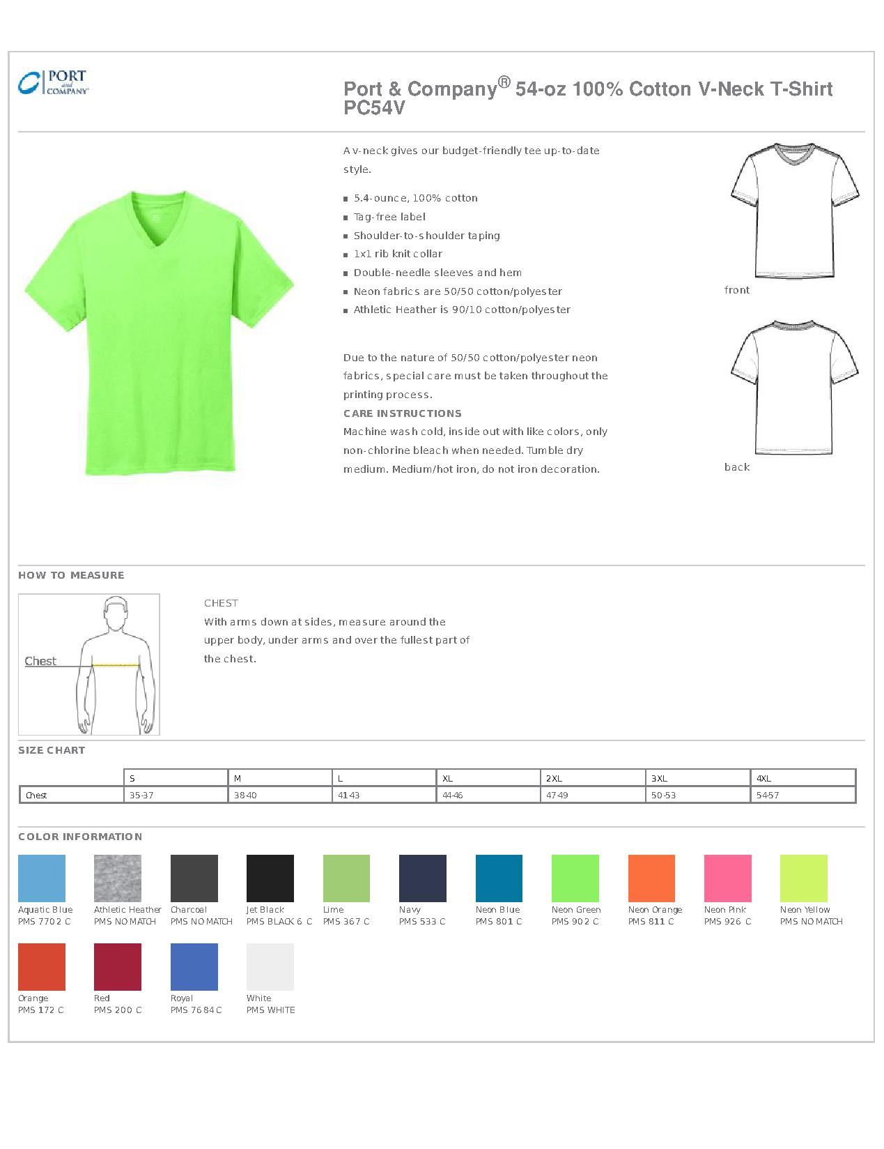 08faa3913d9c Port & Company PC54V 5.4-oz 100% Cotton V-Neck T-Shirt - Men's T-Shirts