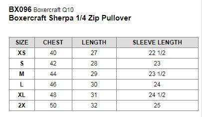 Image result for boxercraft sherpa size chart