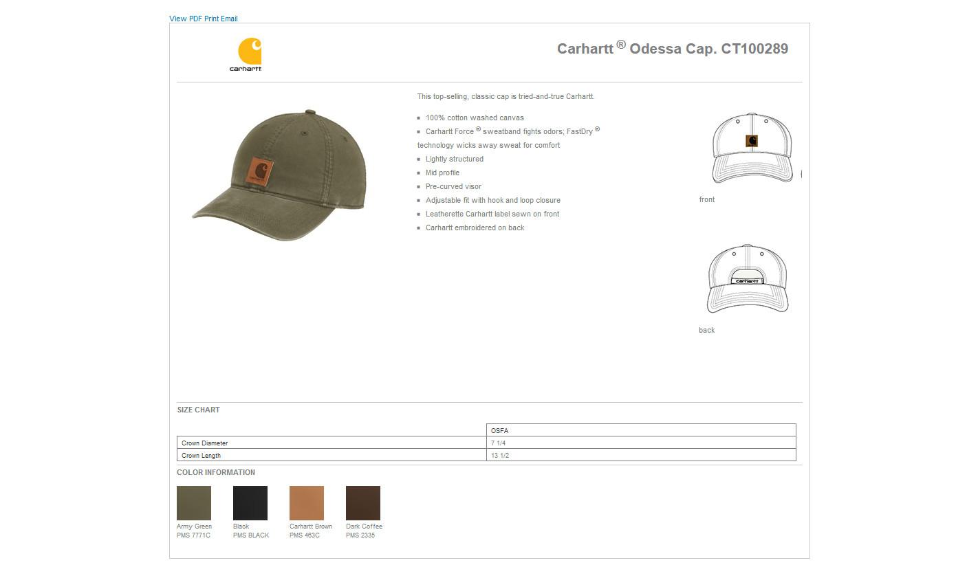 7c8e471926a8c Carhartt® CT100289 - Odessa Cap  14.99 - Headwear