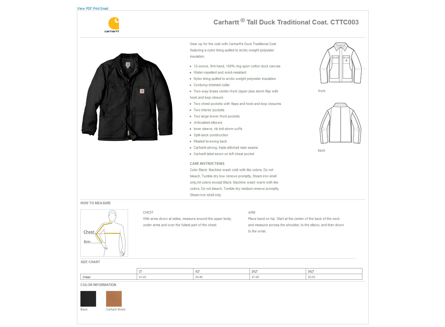 2a530fa999 Carhartt® CTTC003 - Tall Duck Traditional Coat $129.55 - Men's Outerwear
