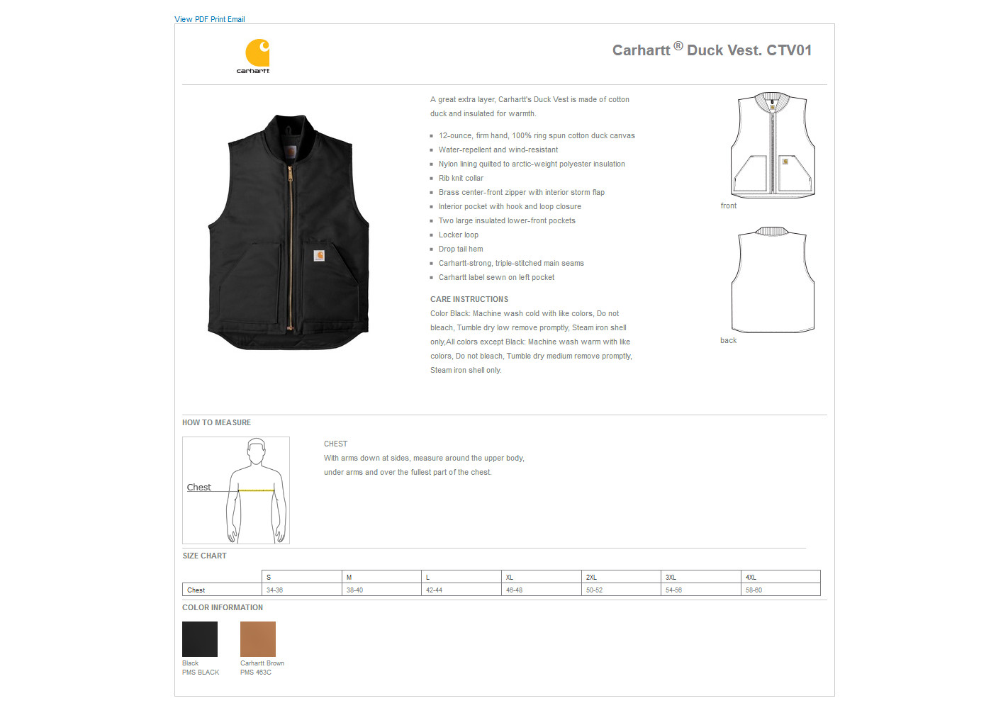 10764d12a3 Carhartt® CTV01 - Duck Vest $55.18 - Men's Outerwear