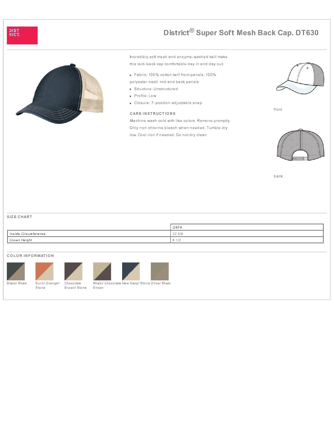 ff66567caa5 Popular Designs. custom design of District DT630 Super Soft Mesh Back Cap