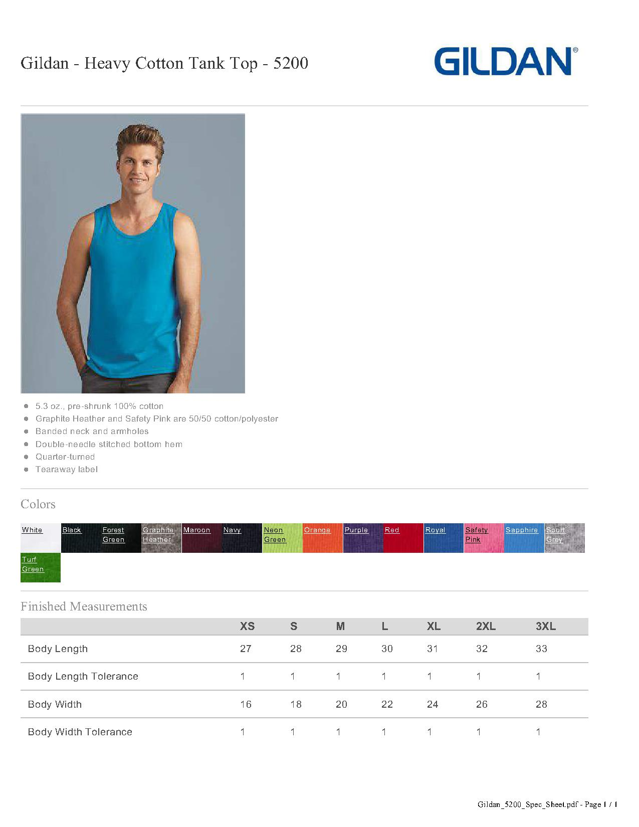 20d372ab84 Popular Designs. custom design of Gildan 5200 - Heavy Cotton Tank Top