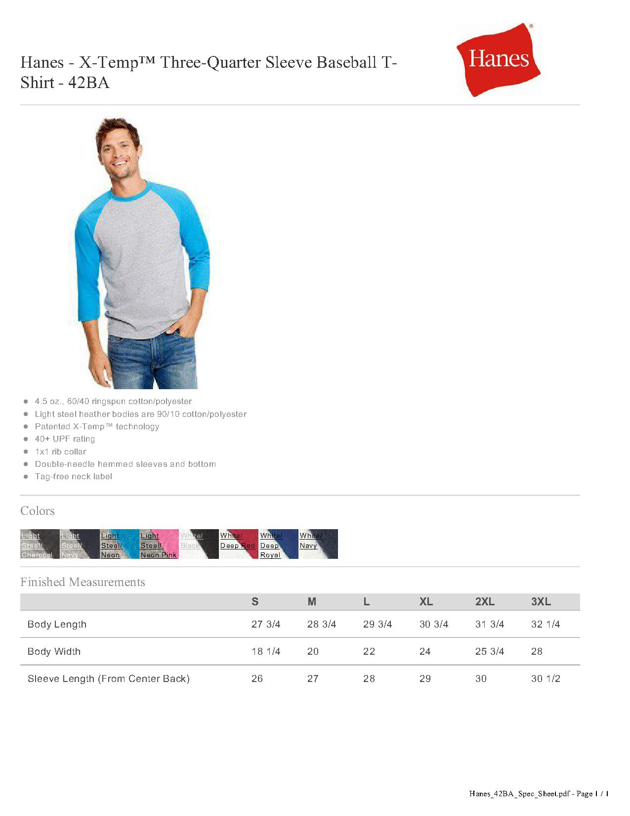 7e6b39f7f4179 Hanes 42BA - X-Temp Three-Quarter Sleeve Baseball T-Shirt  6.68 ...