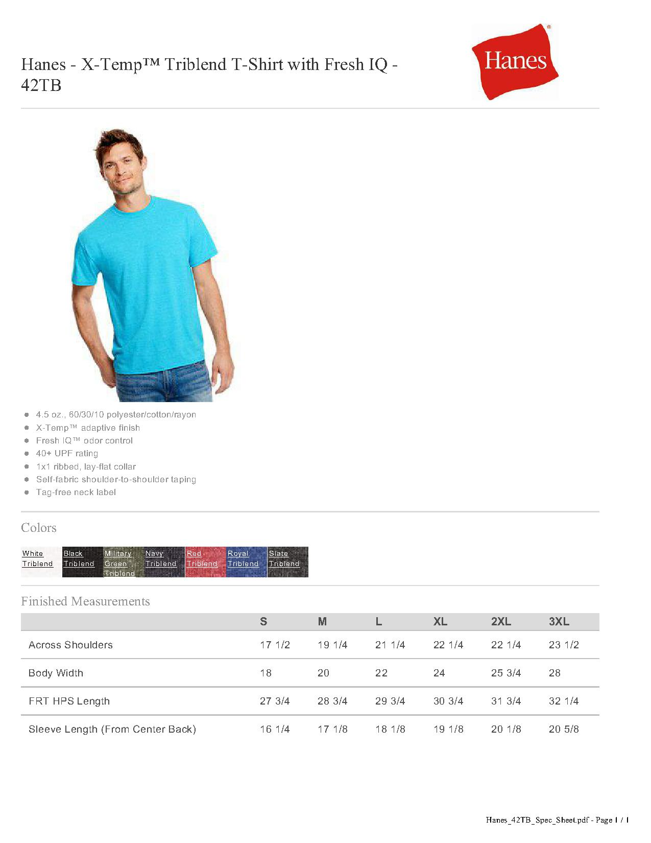 99d913ac78aa5 Hanes 42TB - X-Temp Triblend T-Shirt with Fresh IQ  5.00 - Men s T ...