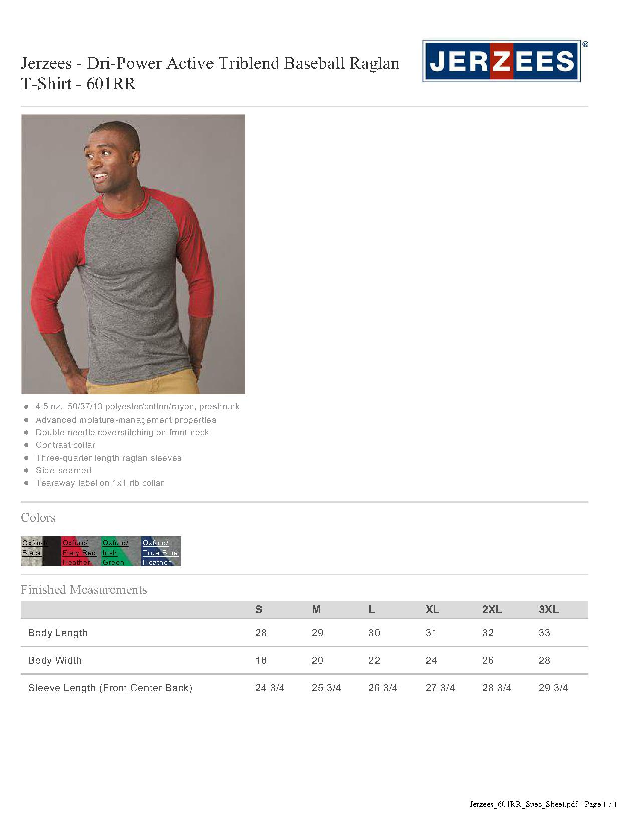 ac7dbace6ef Jerzees 601RR - Dri-Power Active Triblend Baseball Raglan T-Shirt ...