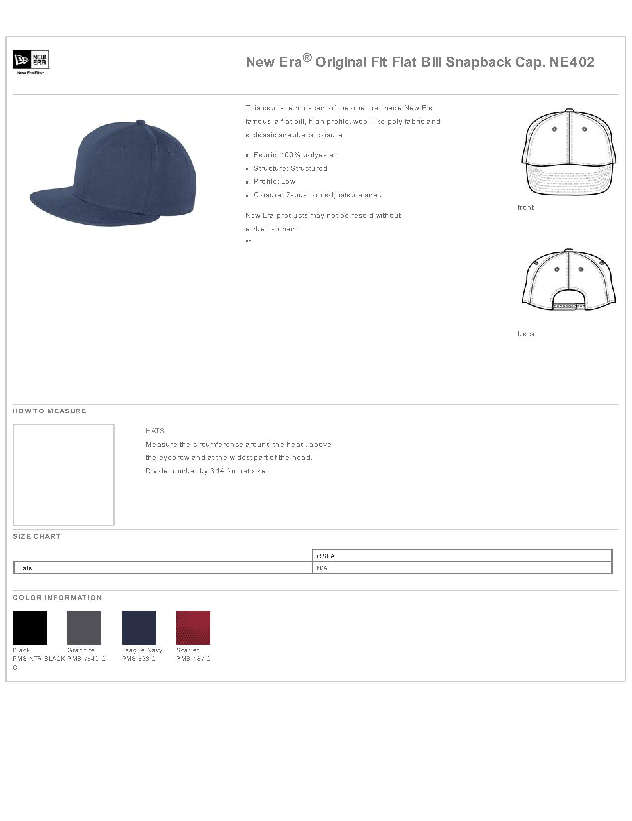 b5297786490a6 Popular Designs. custom design of New Era® NE402 - Original Fit Flat Bill  Snapback Cap