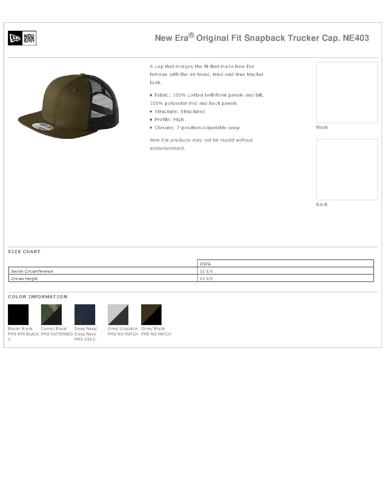 12e899ee928997 Popular Designs. custom design of New Era NE403 - Original Fit Snapback  Trucker Cap