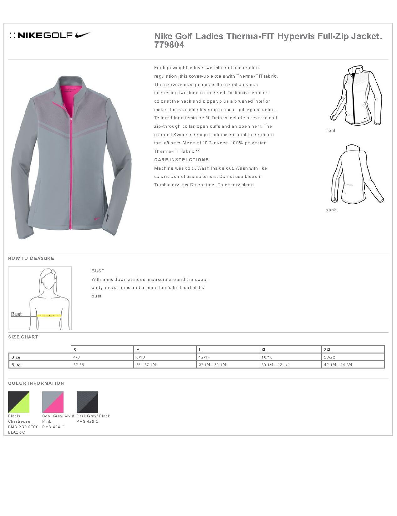 c3b9fdb918aa Nike Golf 779804 - Ladies Therma-FIT Hypervis Full-Zip Jacket ...