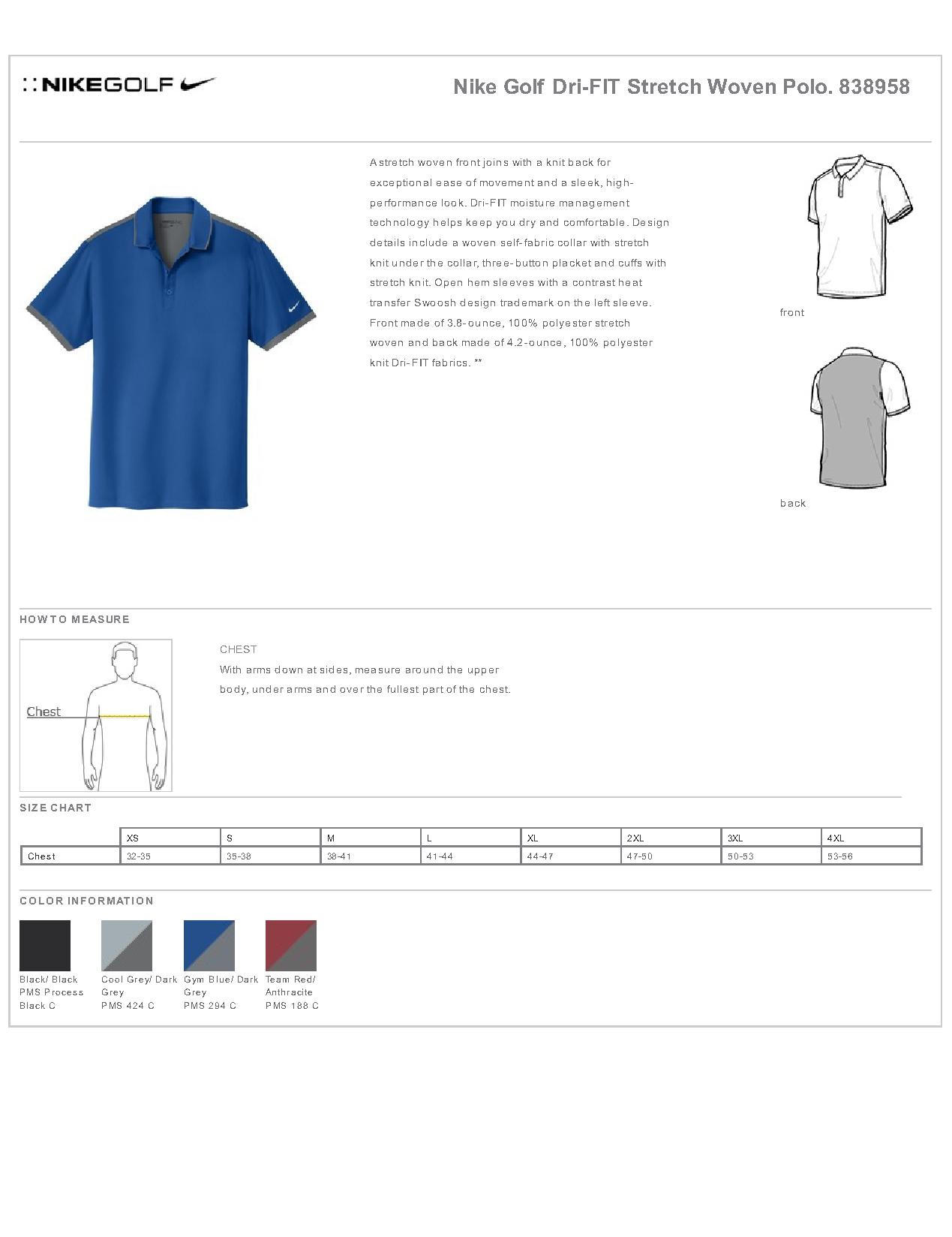 73cf8badb Nike Golf 838958 - Dri-FIT Stretch Woven Polo - Men's Sport Shirts