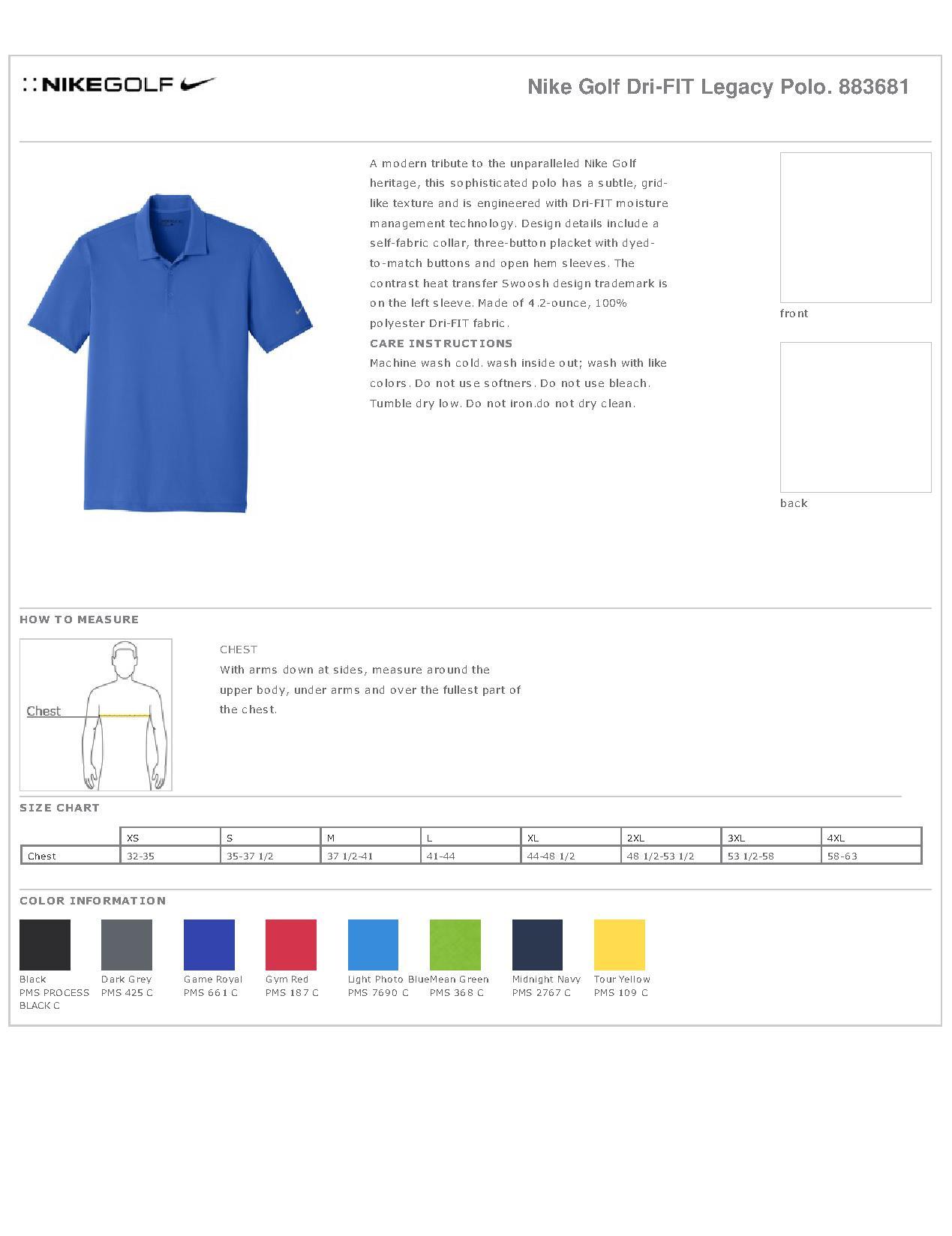 d533d4575 Nike Golf 883681 - Men's Dri-FIT Legacy Polo - Men's Sport Shirts