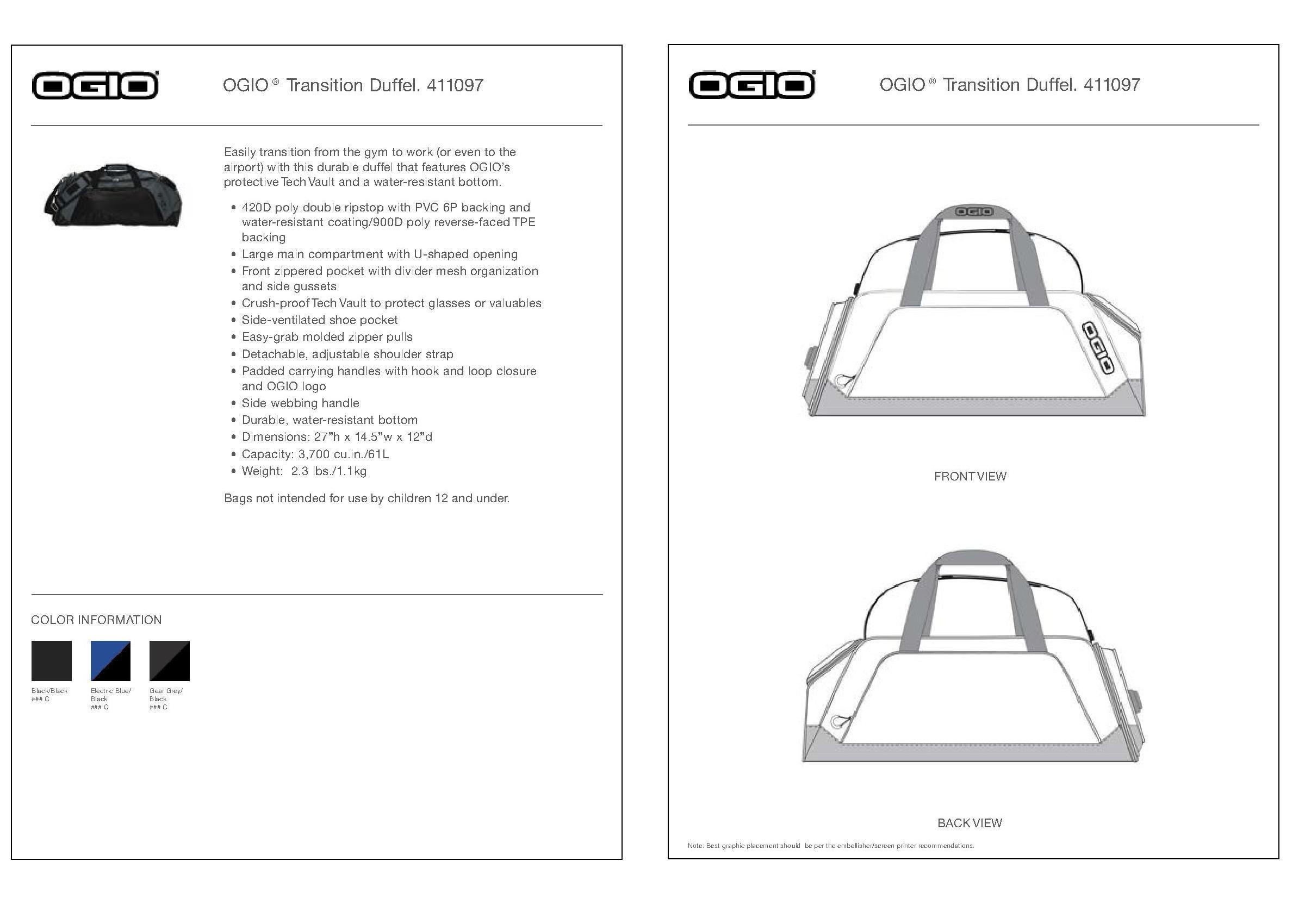 ff937a3ea15 OGIO 411097 - Transition Duffel  45.00 - Bags