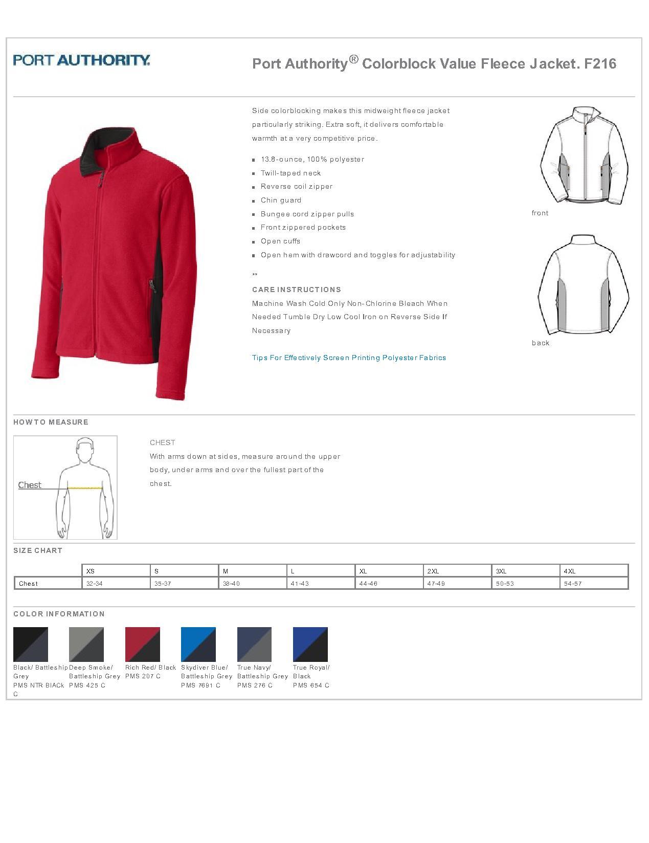 Port Authority® F216-Colorblock Value Fleece Jacket $20.69 - Men\'s ...