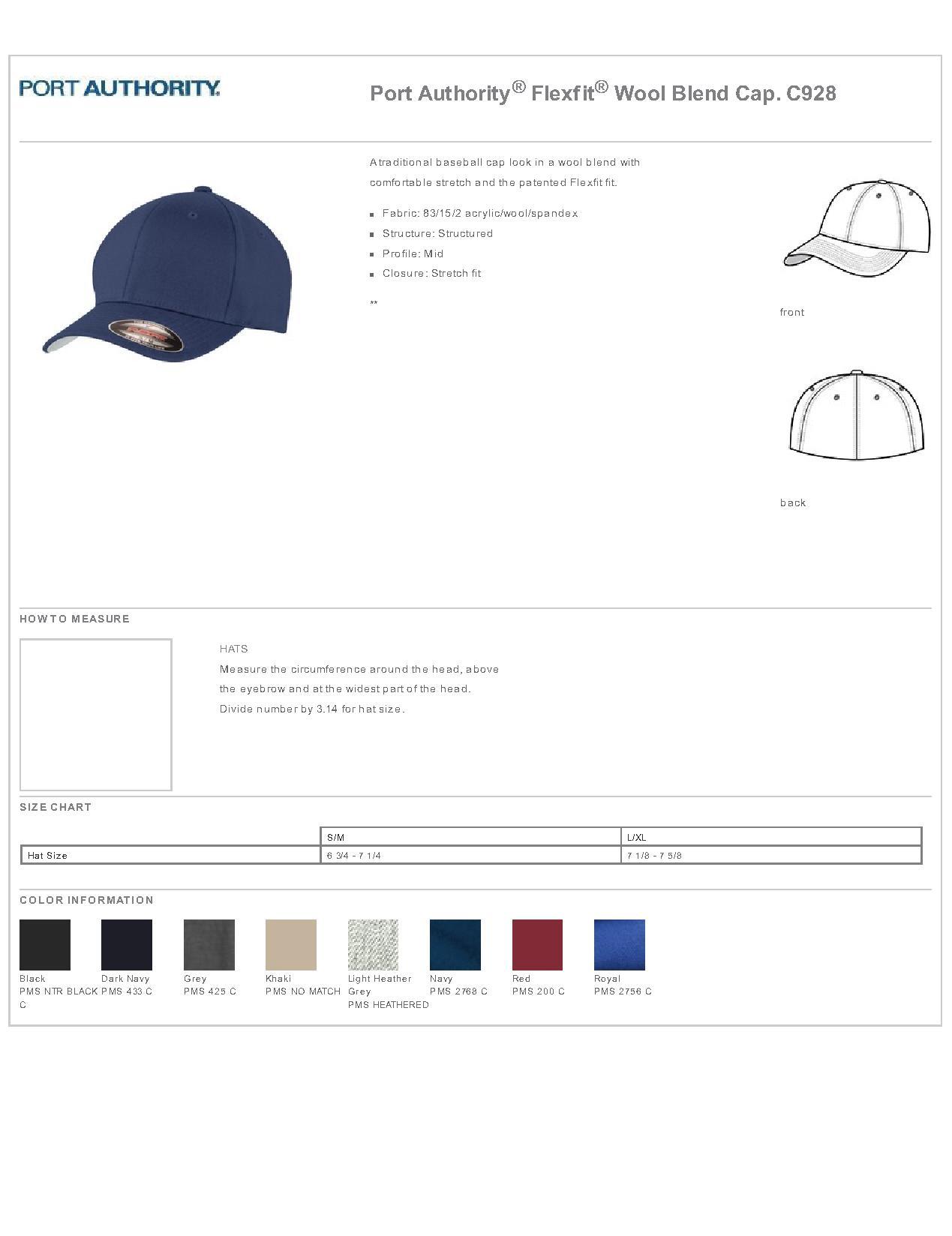 a939985a0 Port Authority® Flexfit® C928 - Wool Blend Cap $10.29 - Headwear