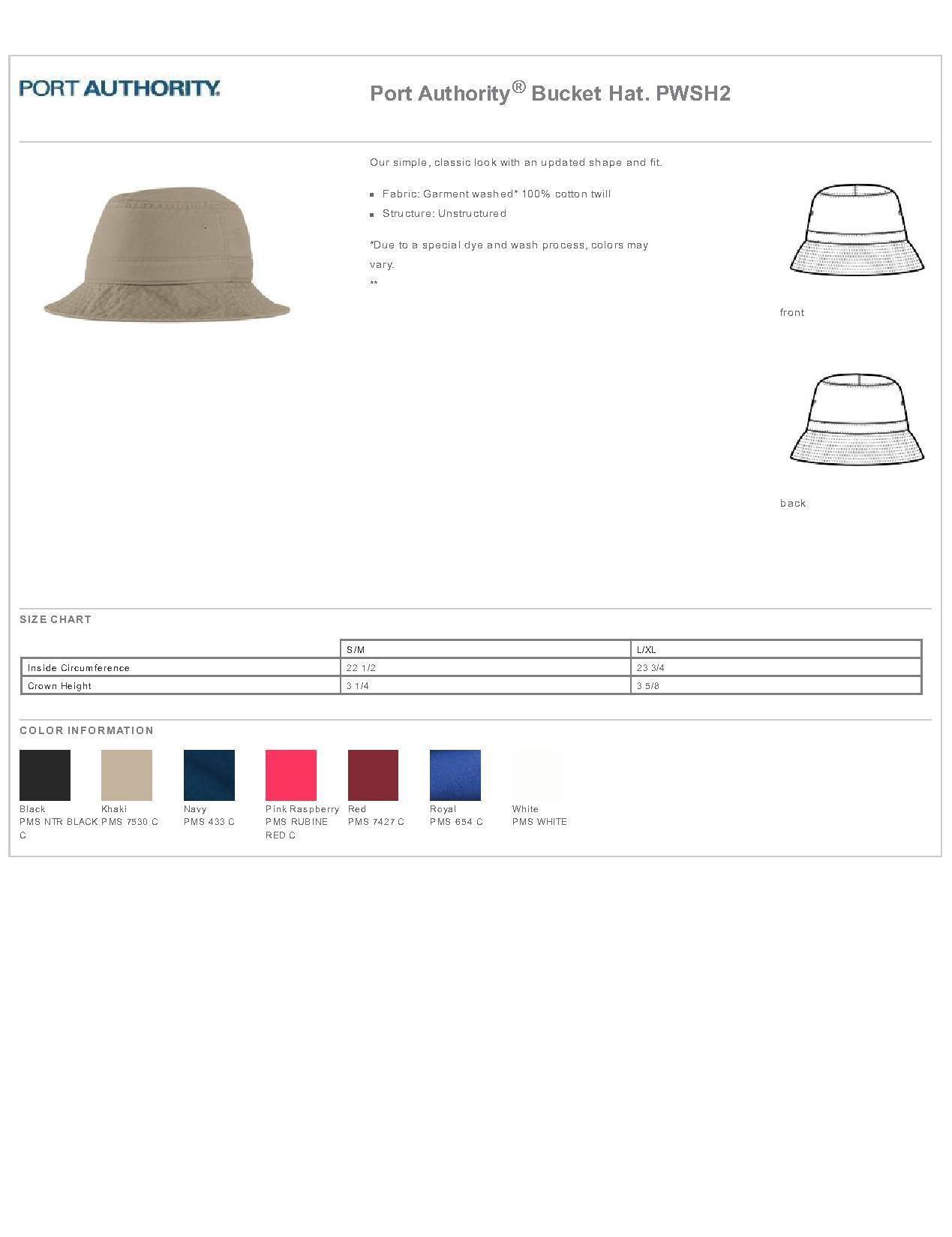 61d3e542f Port Authority® PWSH2 - Bucket Hat $6.61 - Headwear