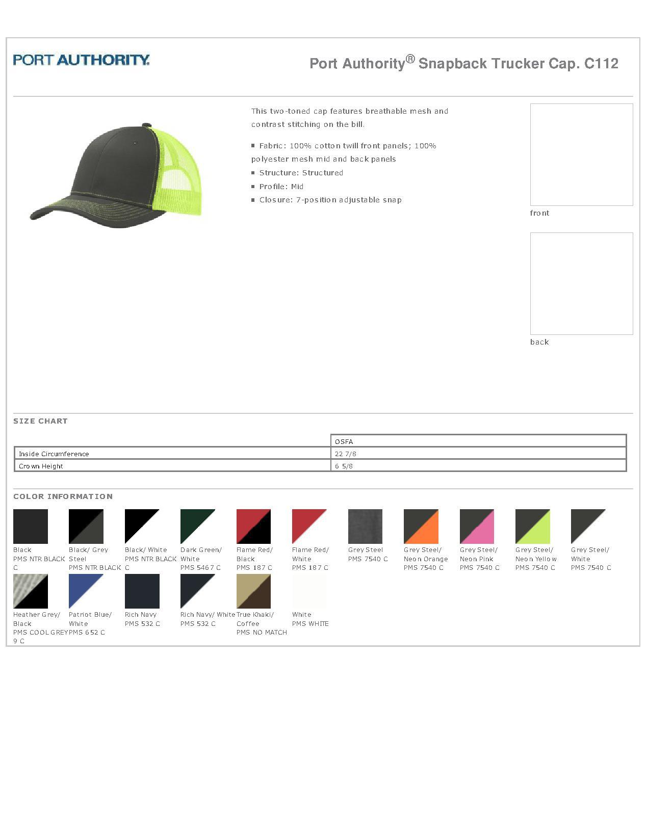 50fdcd064 Port Authority C112 - Snapback Trucker Cap $4.37 - Headwear