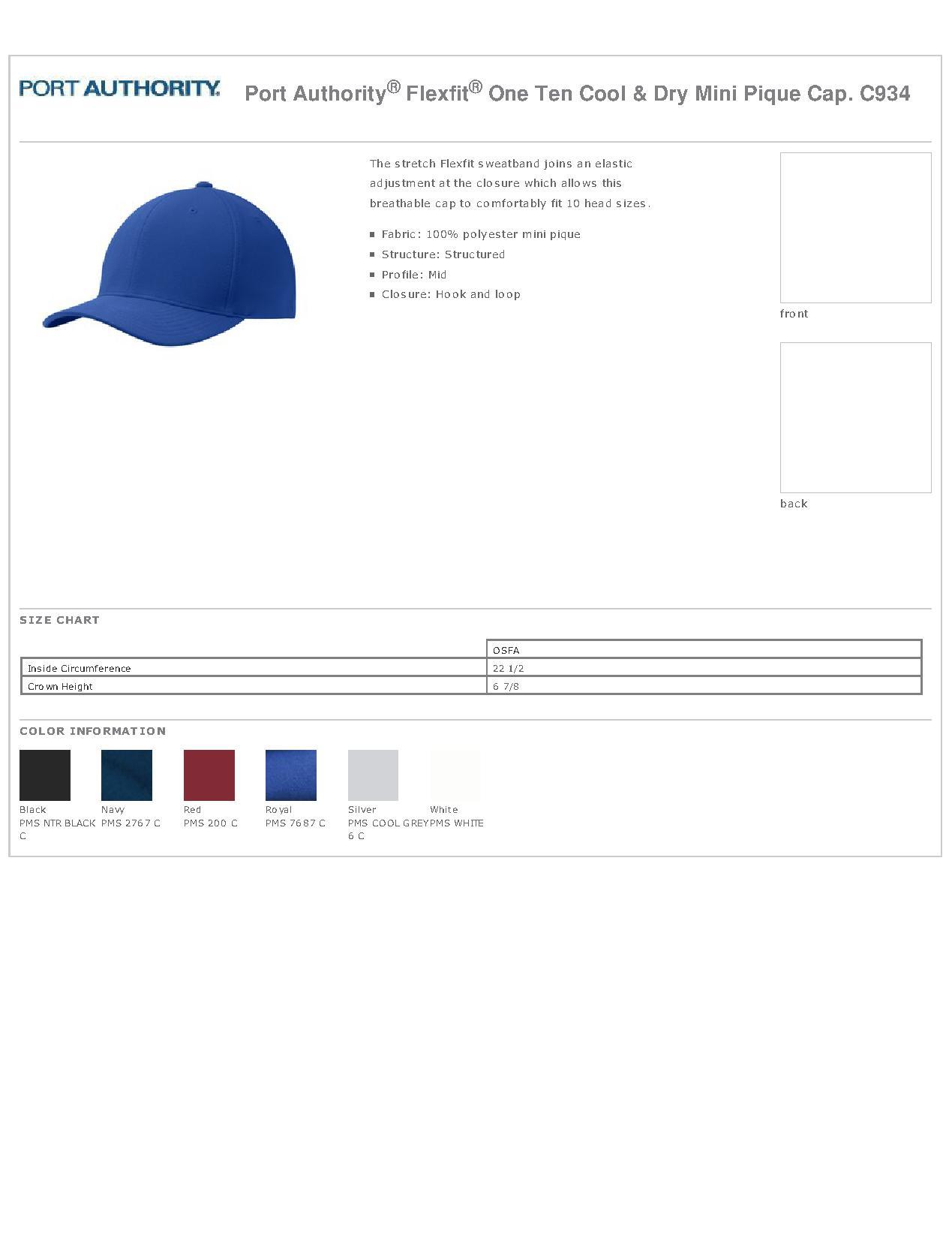 eb0985a94ec Port Authority C934 - Flexfit One Ten Cool   Dry Mini Pique Cap ...
