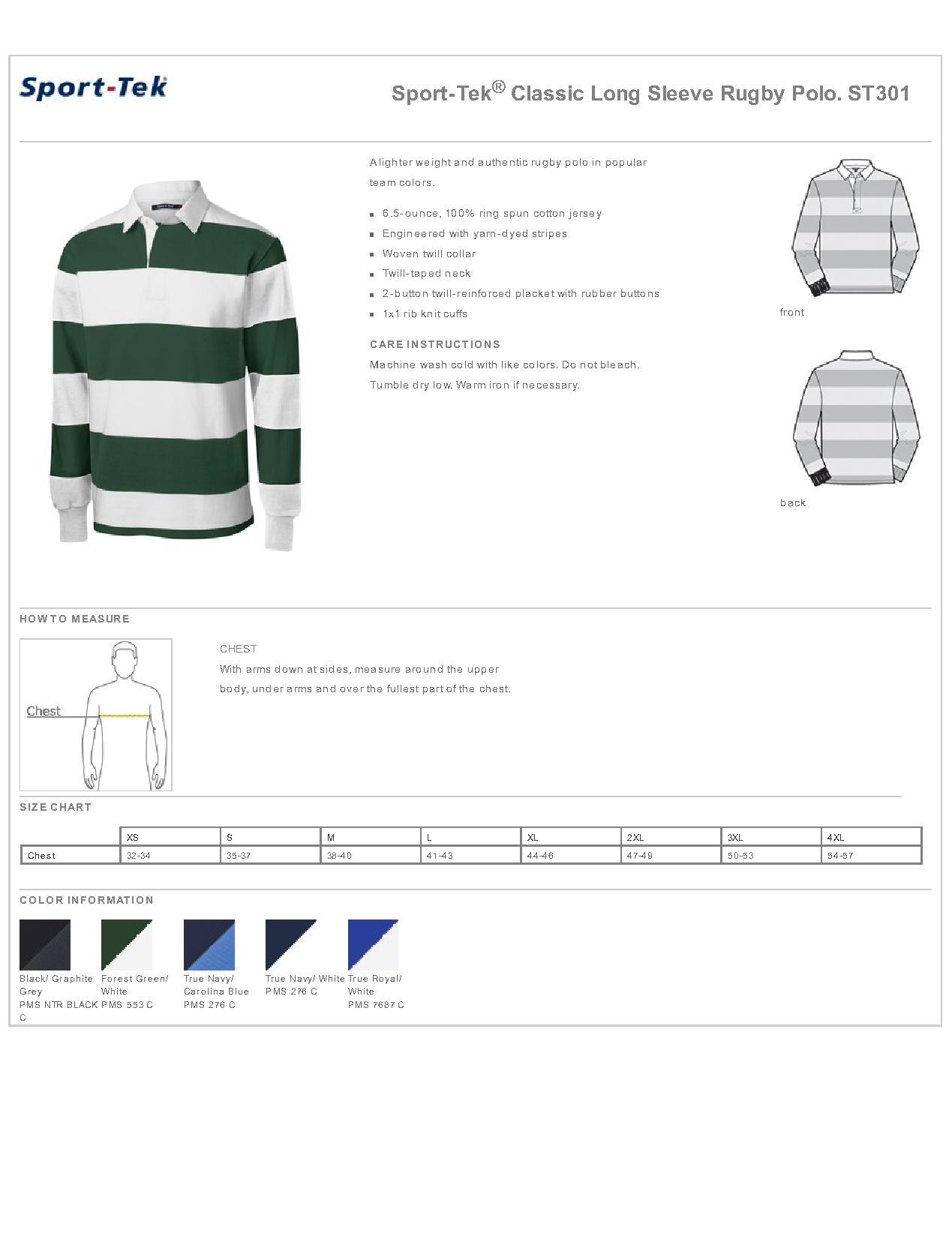 b62632e690c Sport-Tek ST301 - Classic Long Sleeve Rugby Polo $26.48 - Men's Fleece