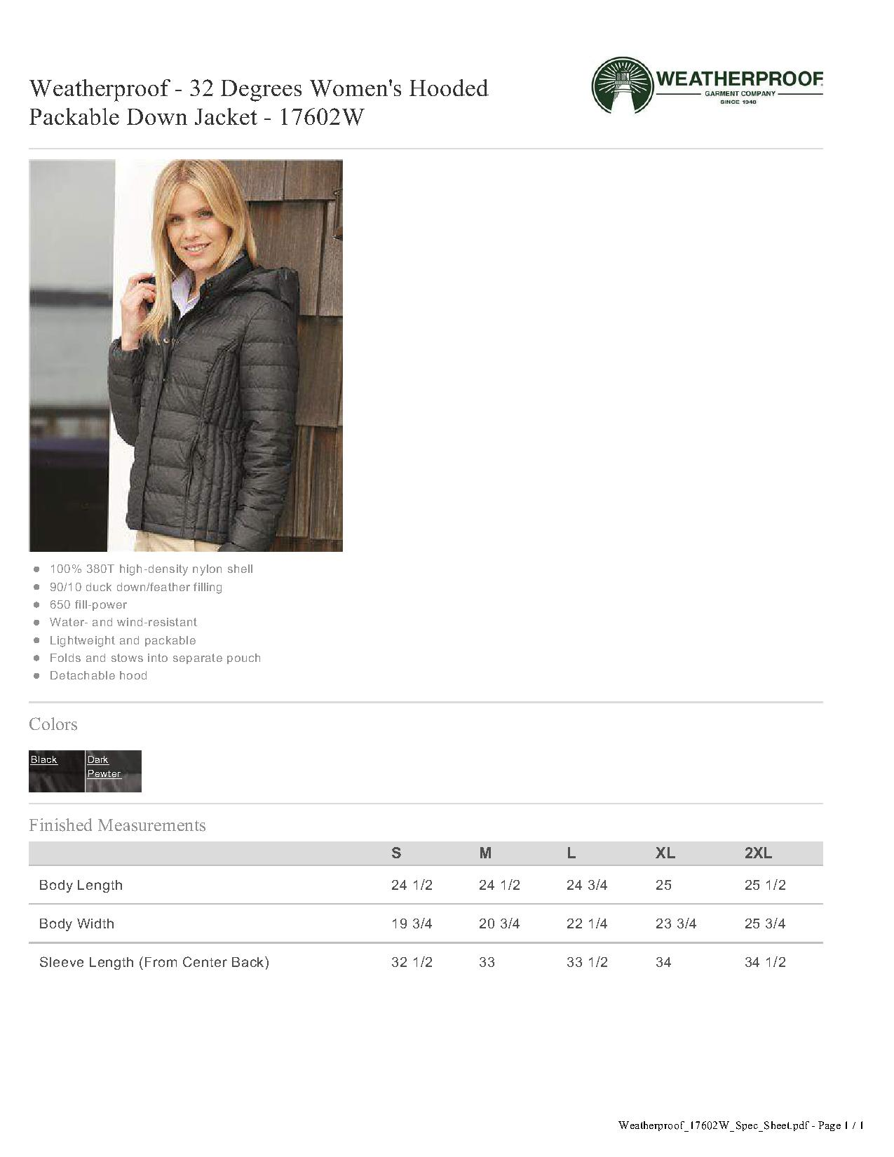 d07552a104a8 Weatherproof 17602W - 32 Degrees Women s Hooded Packable Down Jacket ...