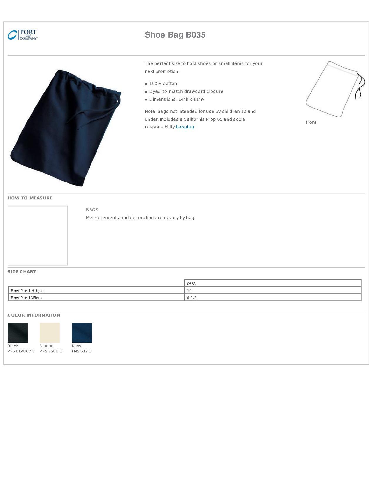 Shoe Bag B035 Port /& Company