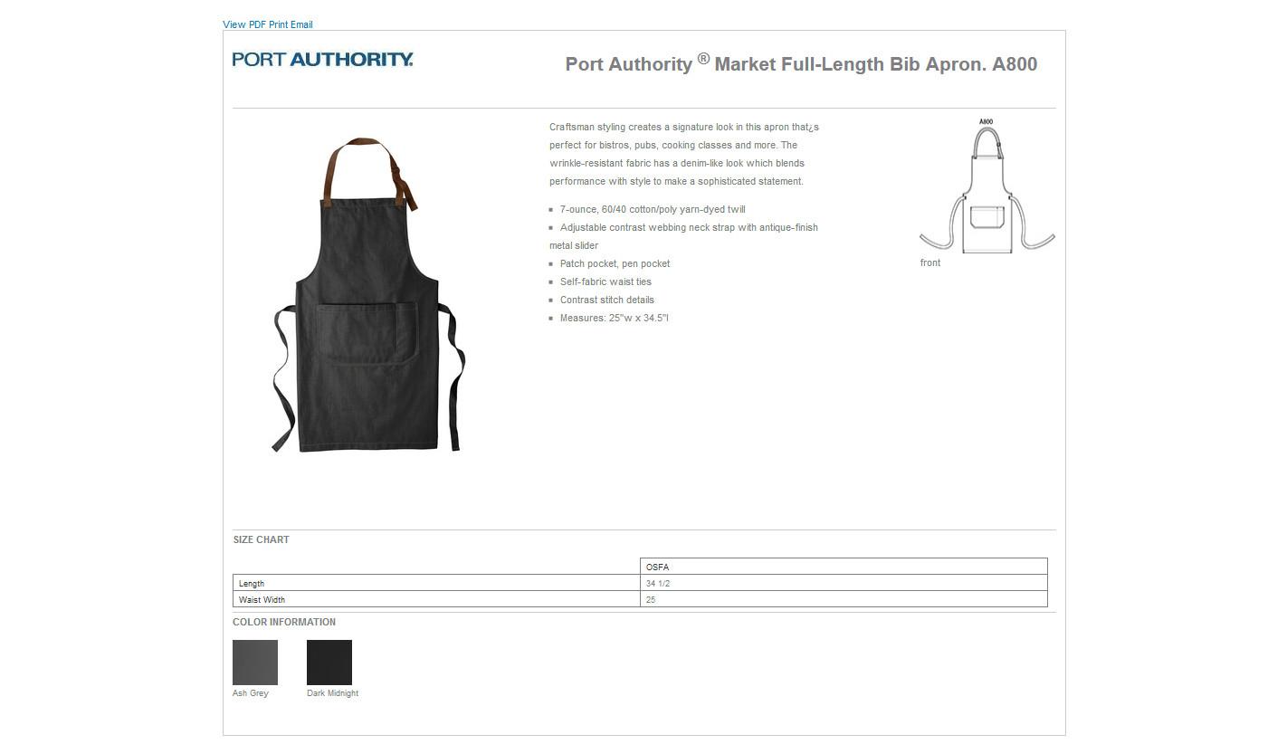 Port Authority Mens Market Full-Length Bib Apron Dark Midnight One Size