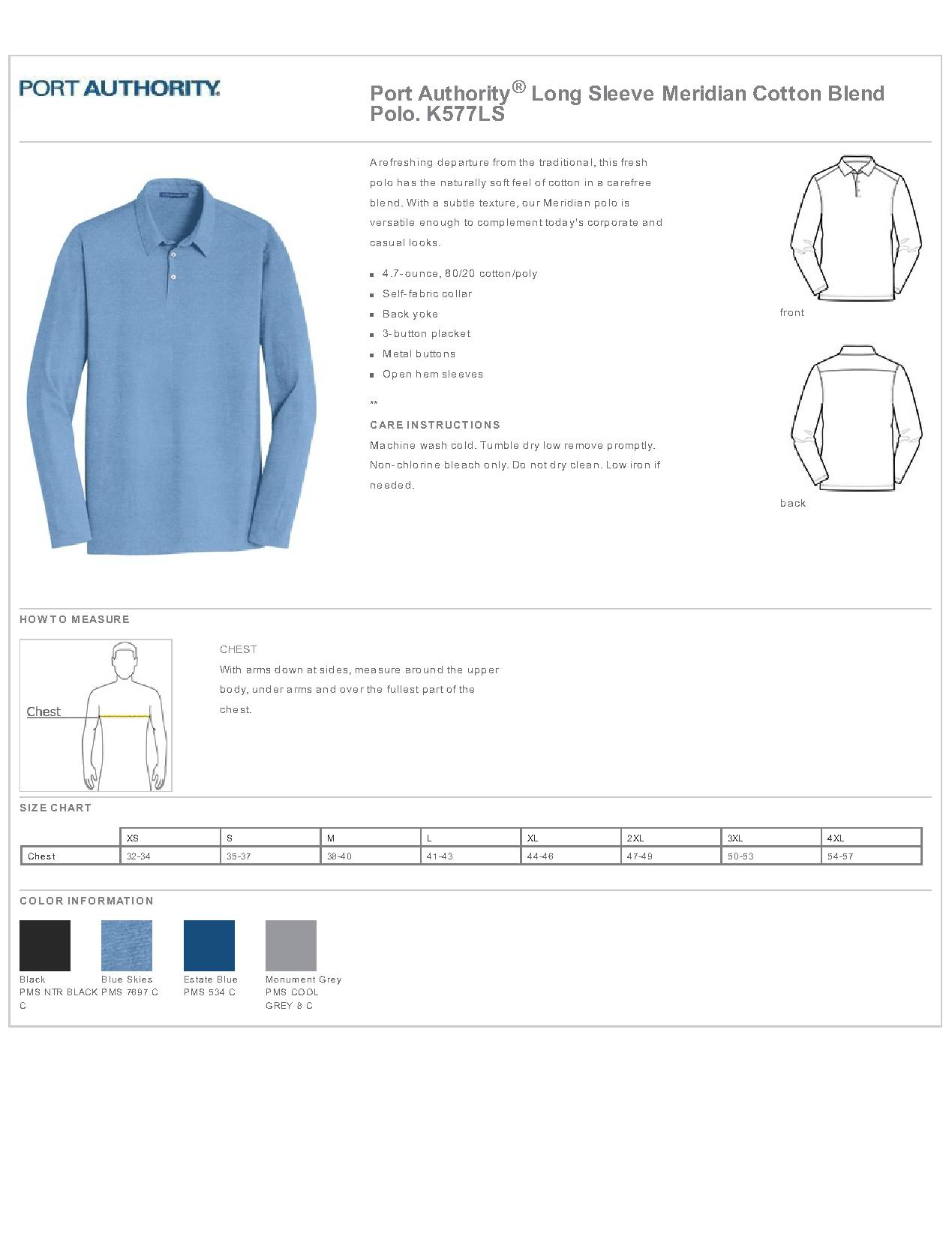 Details about  /K577LS Port Authority Long Sleeve Meridian Cotton Blend Polo