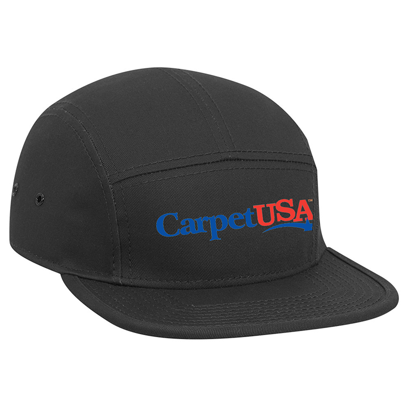 custom design of Superior cotton twill square flat visor with binding trim solid color five panel camper style caps