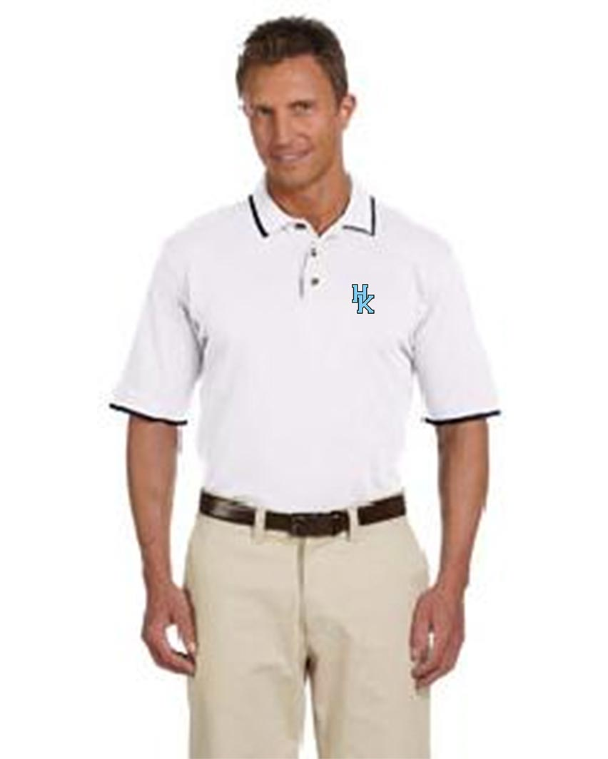 custom design of Harriton M210  Short-Sleeve Pique Polo with Tipping