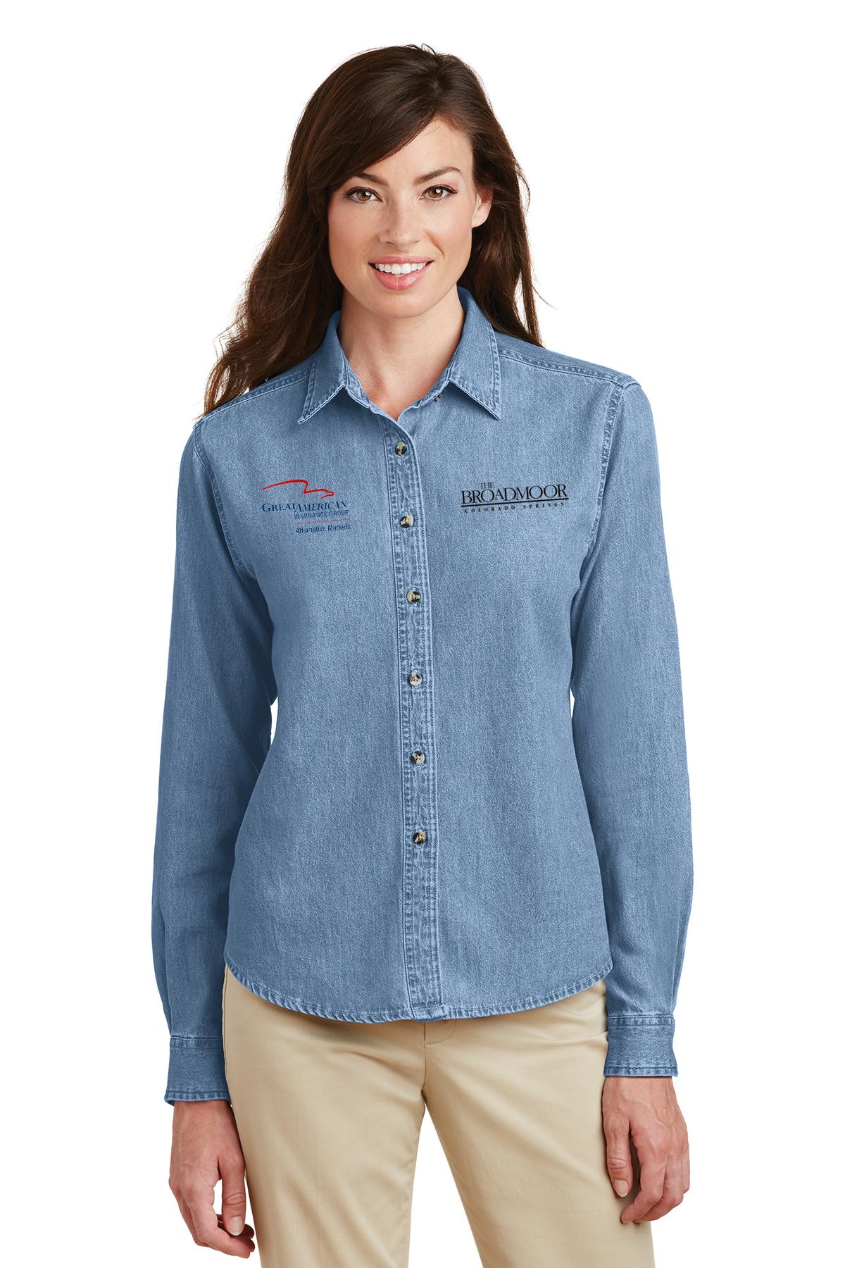 custom design of Port Authority® L600D Ladies Long Sleeve Denim Shirt