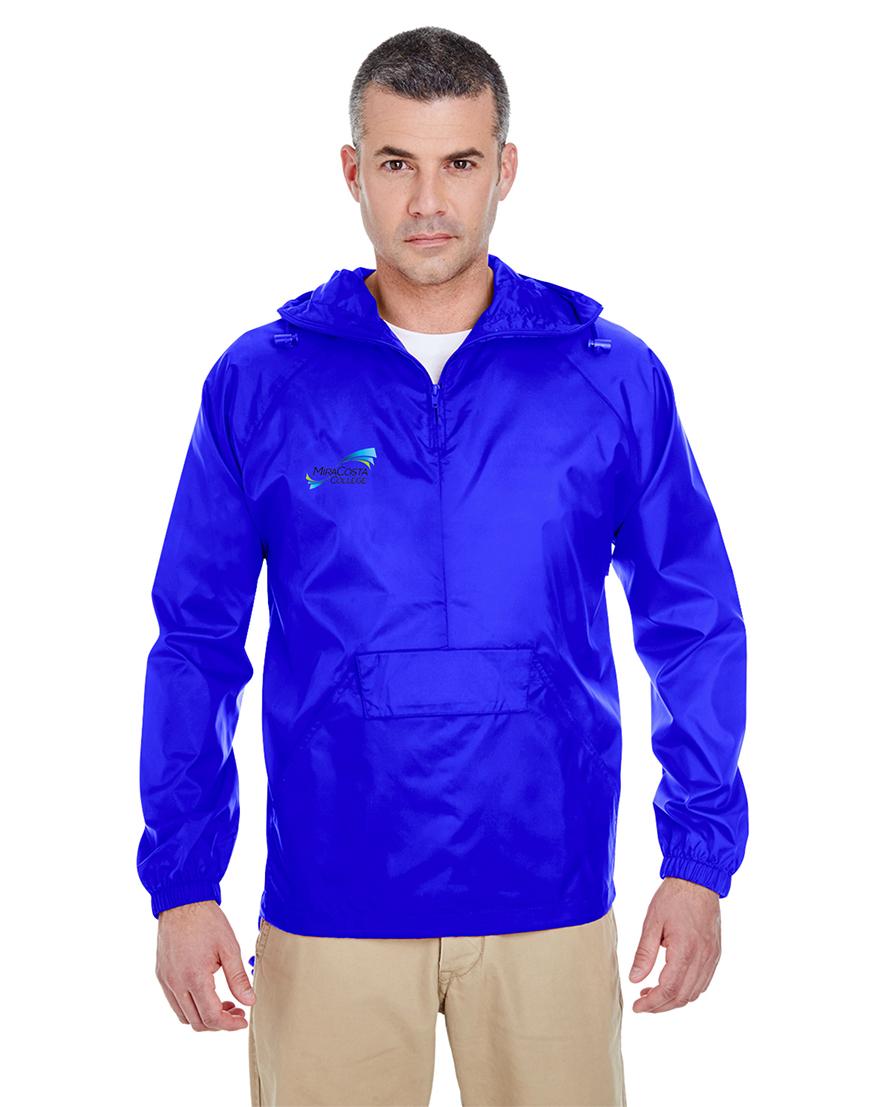 custom design of UltraClub 8925-Adult 1/4-Zip Hooded Pullover Pack-Away Jacket