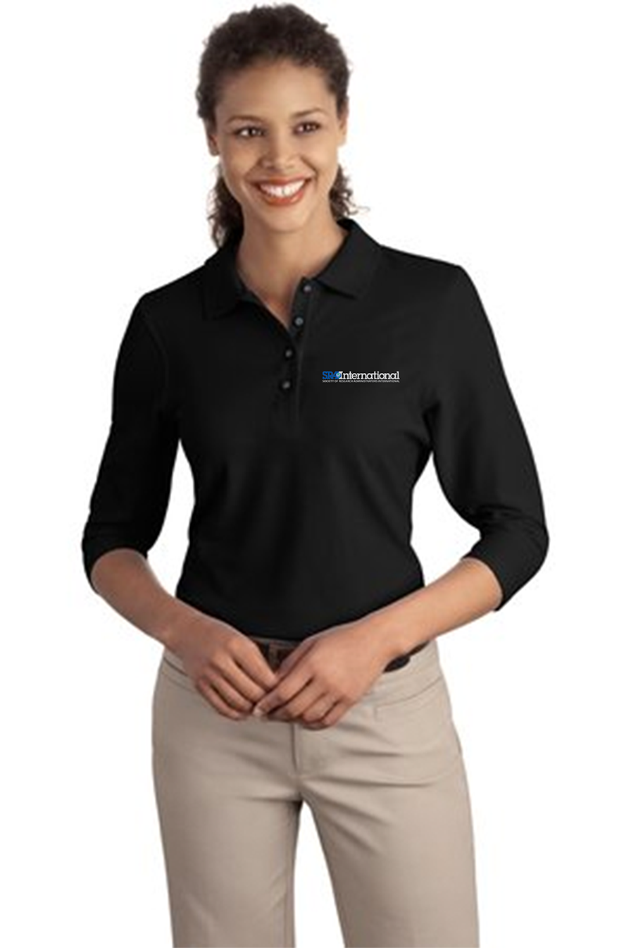 custom design of Port Authority® L562 Ladies Silk Touch™ 3/4-Sleeve Polo