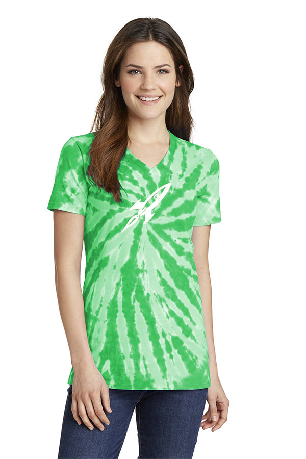 custom design of Port & Company  LPC147V - Ladies Essential Tie-Dye V-Neck Tee